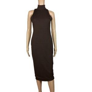 NWT Nasty Gal brown ribbed midi dress